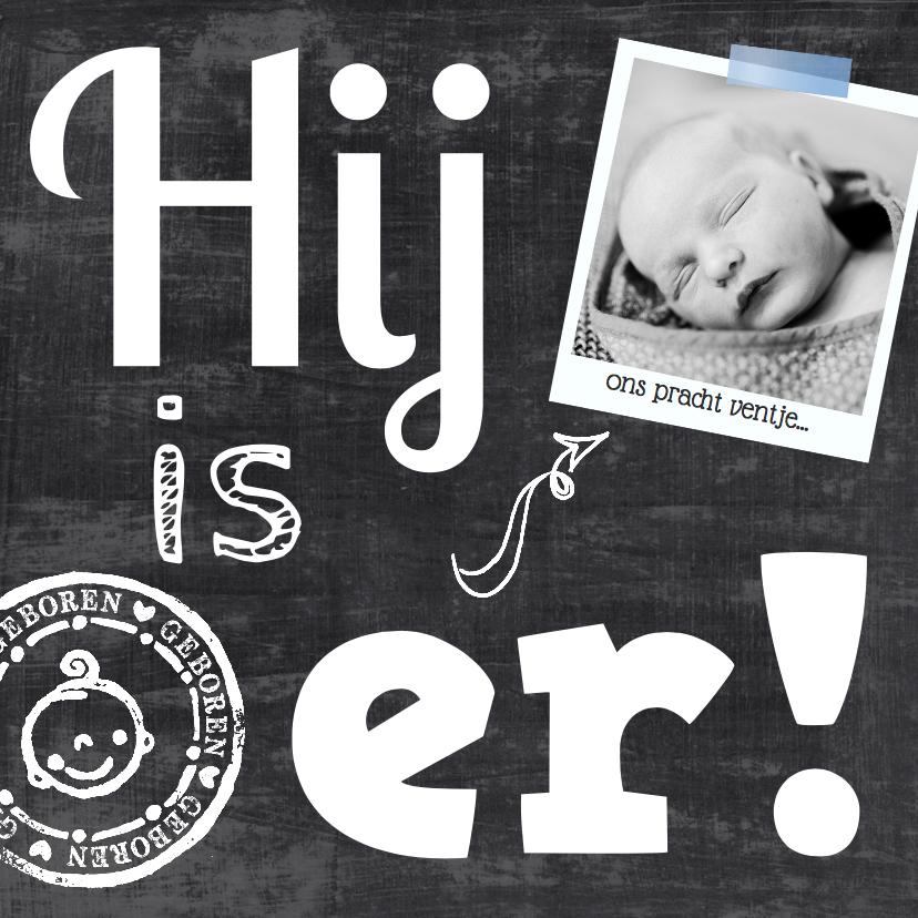 Geboortekaartjes - Geboortekaartje foto krijt stoer