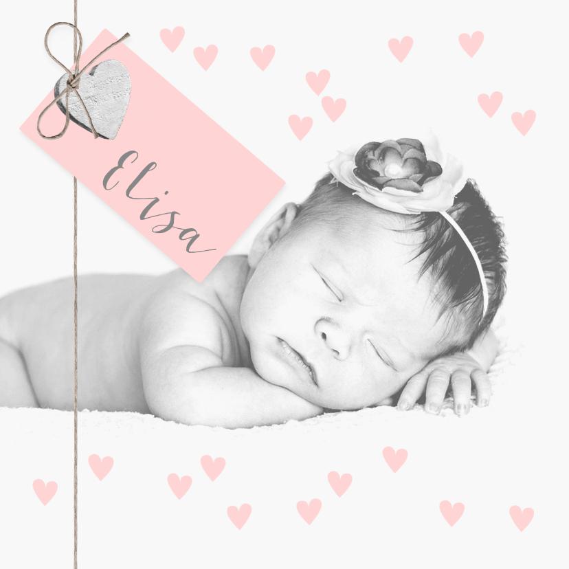 Geboortekaartjes - Geboortekaartje foto label hartjes roze