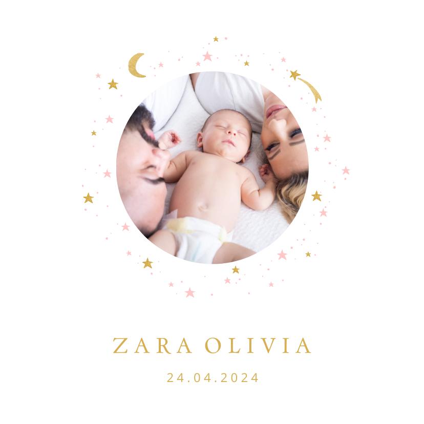 Geboortekaartjes - Geboortekaartje foto maan sterren meisje
