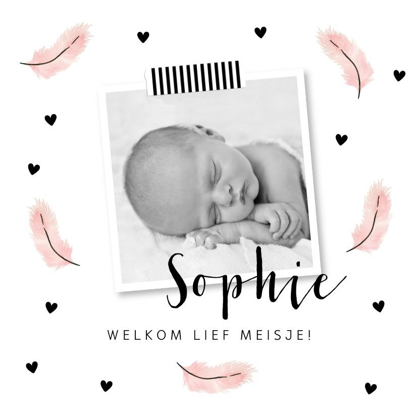 Geboortekaartjes - Geboortekaartje foto roze veertjes hartjes