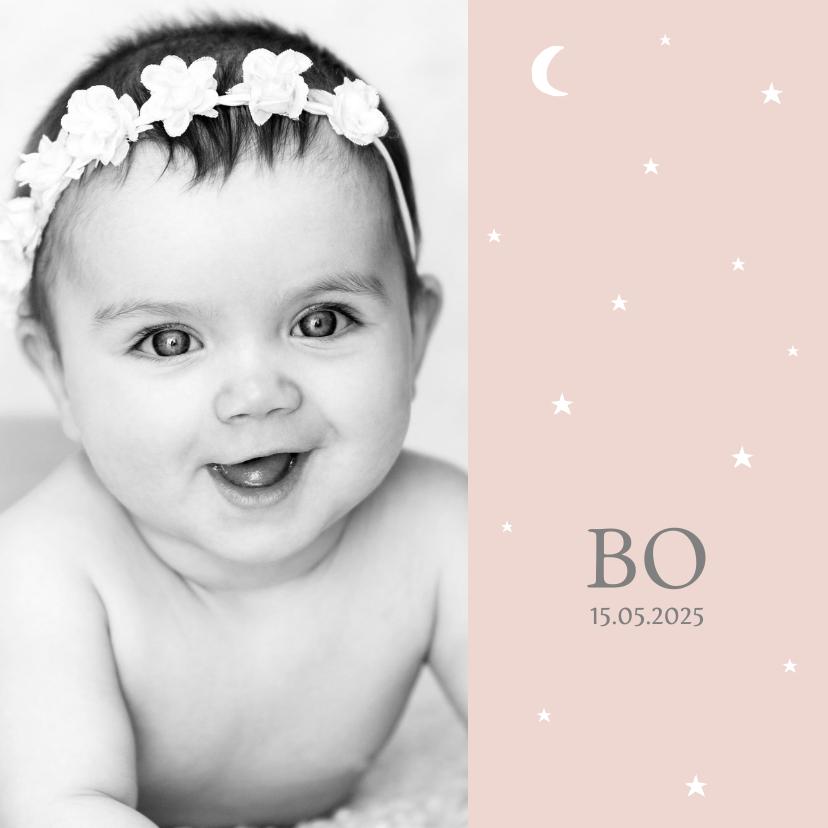 Geboortekaartjes - Geboortekaartje foto sterren maan meisje