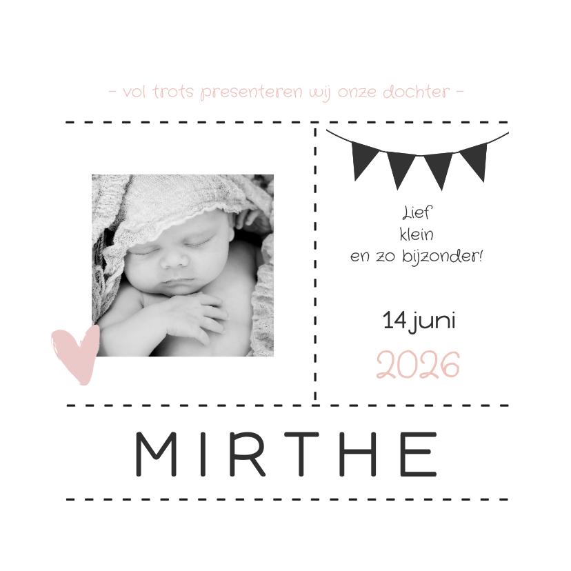 Geboortekaartjes - Geboortekaartje foto vlaggen 2