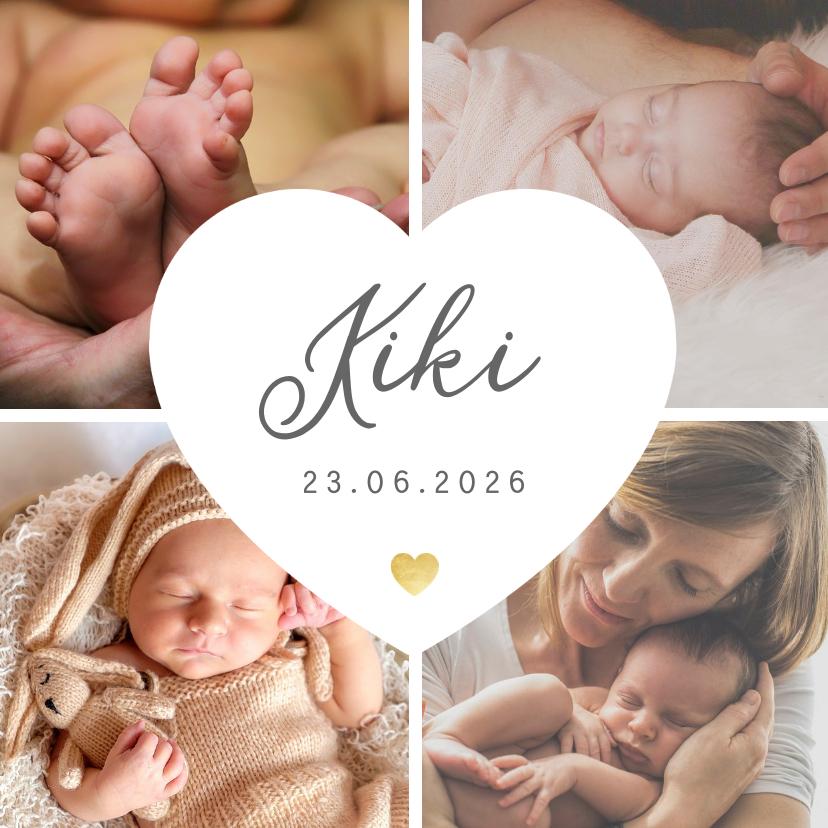 Geboortekaartjes - Geboortekaartje fotocollage 4 foto's met wit hart en naam