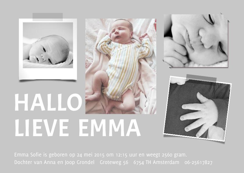 Geboortekaartjes - Geboortekaartje fotocollage baby kleur