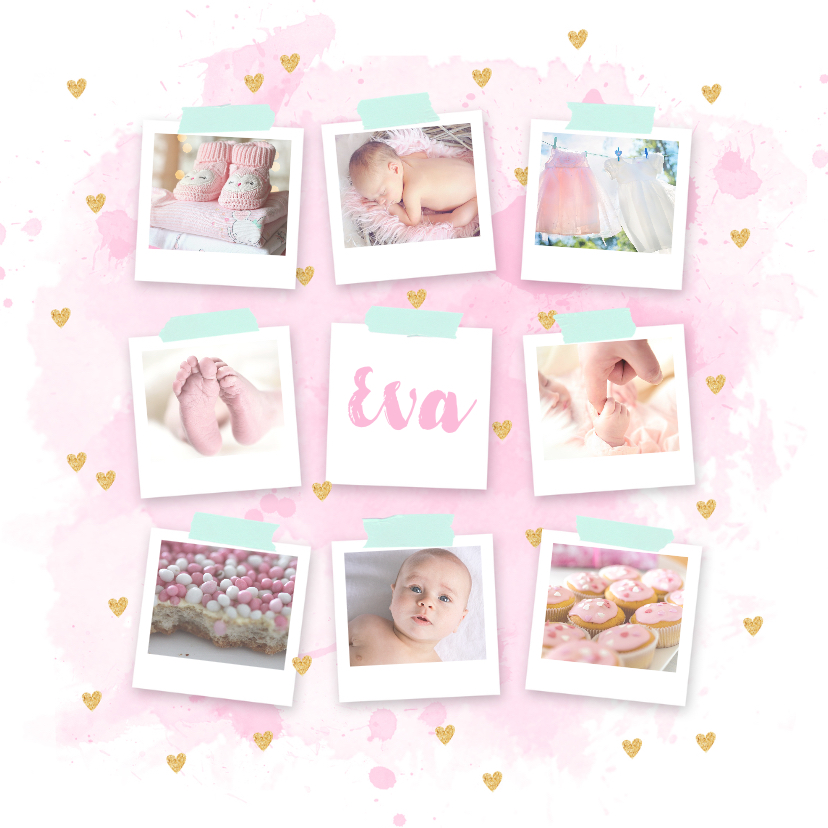 Geboortekaartjes - Geboortekaartje fotocollage hip aquarel hartjes