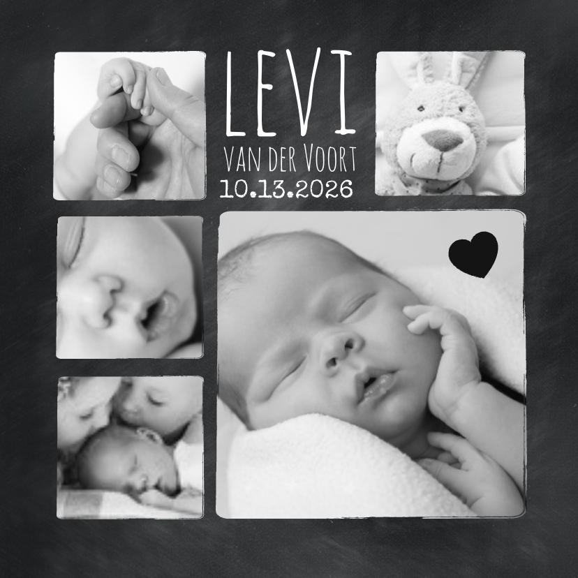 Geboortekaartjes - Geboortekaartje fotocollage in zwart wit
