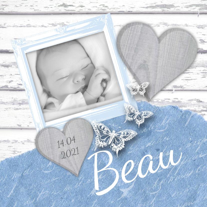 Geboortekaartjes - Geboortekaartje fotolijstje hartjes vlinders lichtblauw
