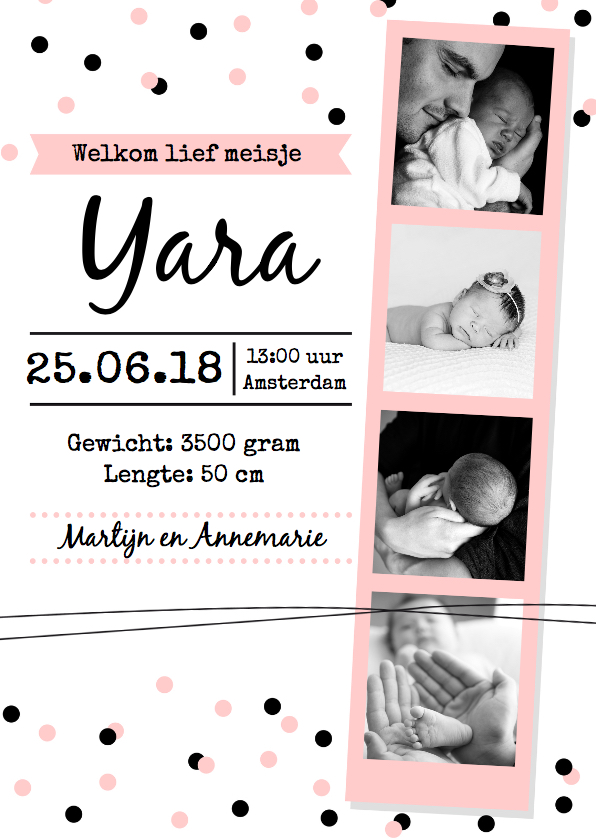 Geboortekaartjes - Geboortekaartje fotostrip meisje