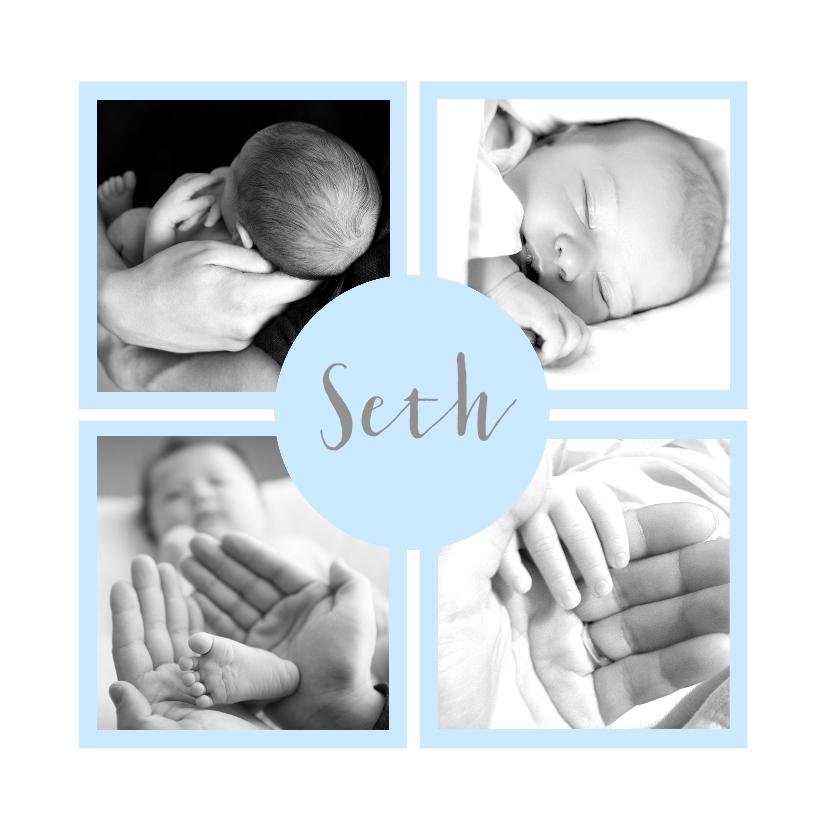 Geboortekaartjes - Geboortekaartje foto's vakjes lichtblauw jongen