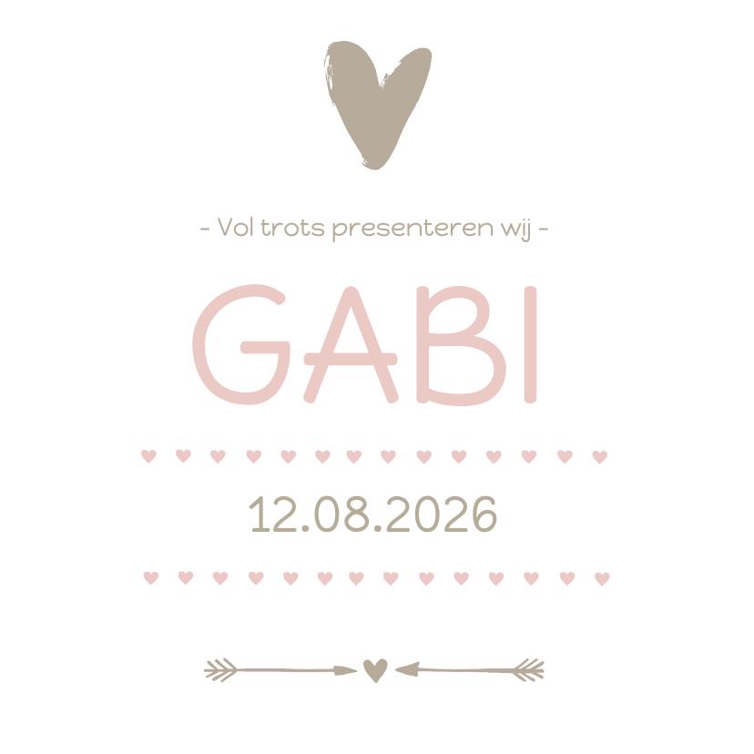 Geboortekaartjes - Geboortekaartje Gabi roze hart