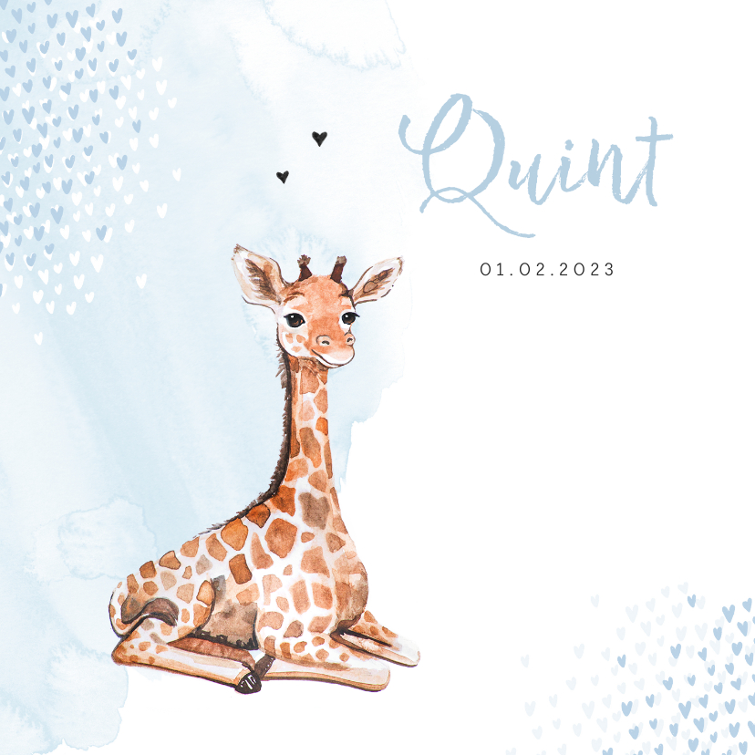 Geboortekaartjes - Geboortekaartje giraf hartjes blauw waterverf