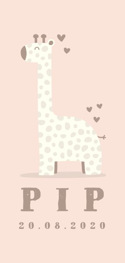 Geboortekaartjes - Geboortekaartje giraf meisje met hartjes