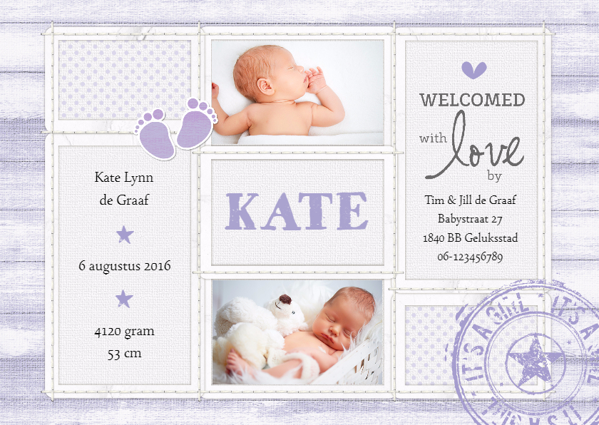 Geboortekaartjes - Geboortekaartje Girl lavendel