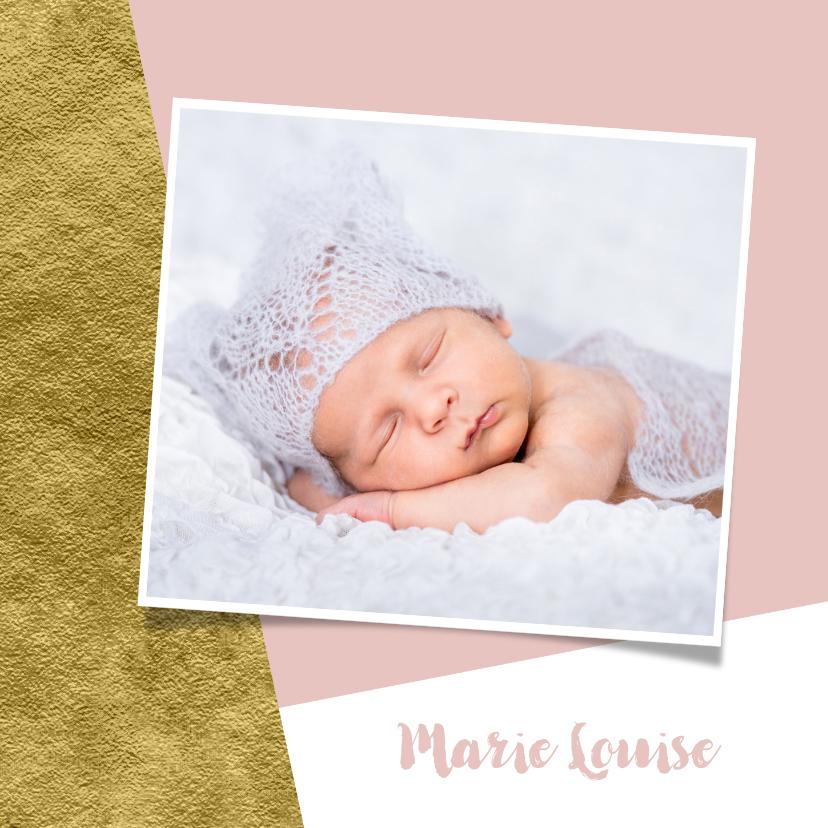 Geboortekaartjes - Geboortekaartje goud aanpasbare achtergrondkleur