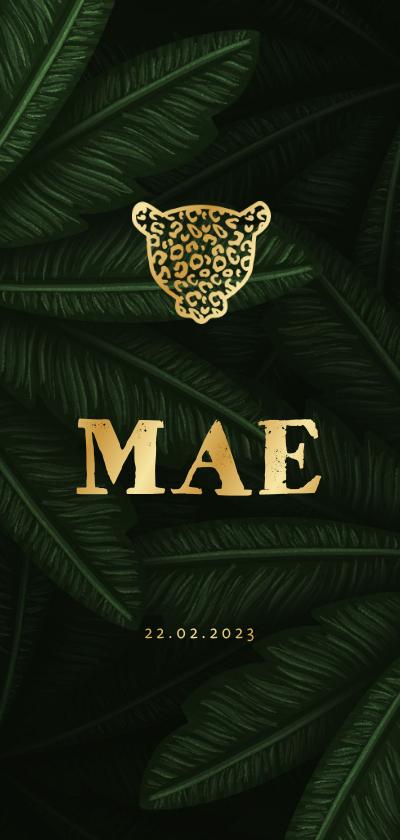 Geboortekaartjes - Geboortekaartje gouden panter silhouet met jungle bladeren
