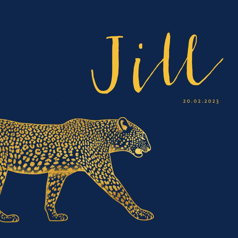 Geboortekaartjes - Geboortekaartje goudlook leopard aanpasbare kleur