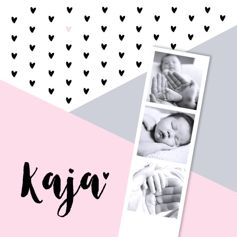 Geboortekaartjes - Geboortekaartje grafisch hartjes fotostrip roze