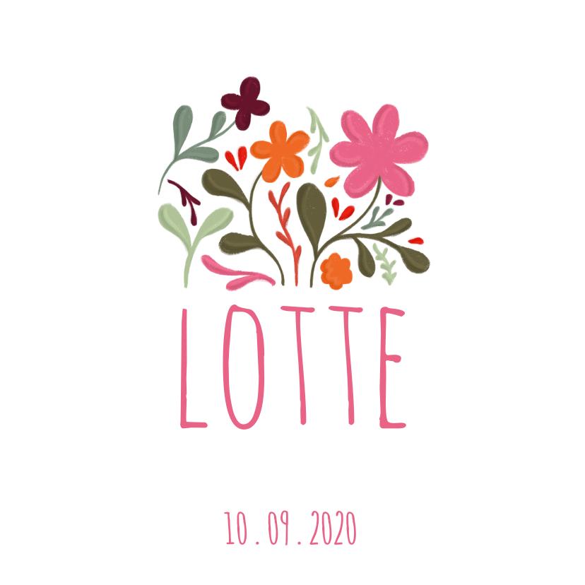 Geboortekaartjes - Geboortekaartje handgeschilderde bloemen op vierkant