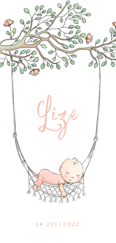 Geboortekaartjes - Geboortekaartje hangmatje met tak meisje