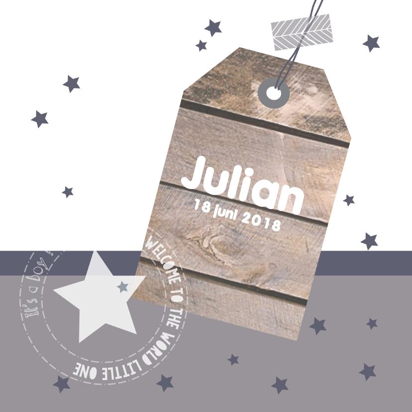 Geboortekaartjes - Geboortekaartje hangtag Julian