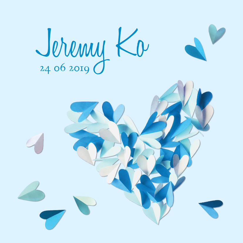 Geboortekaartjes - Geboortekaartje hart blauw confetti hartjes jongen