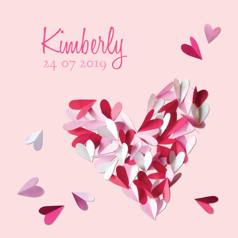 Geboortekaartjes - Geboortekaartje hart meisje confetti