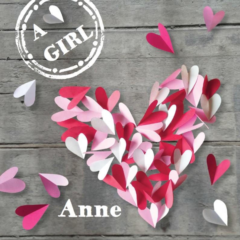 Geboortekaartjes - Geboortekaartje hart meisje hout