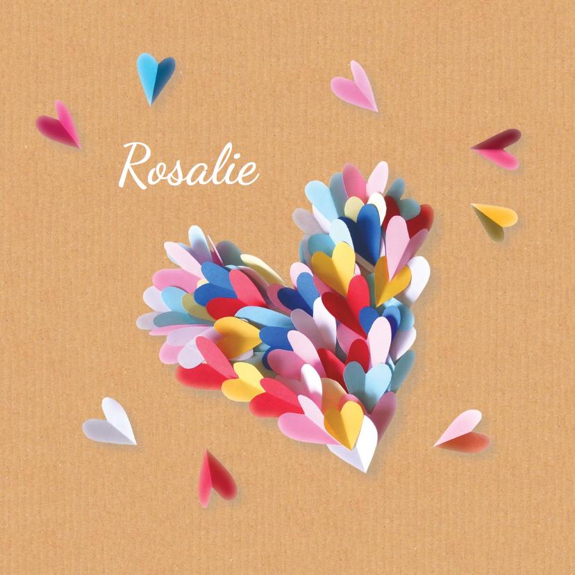Geboortekaartjes - geboortekaartje hart Rosalie