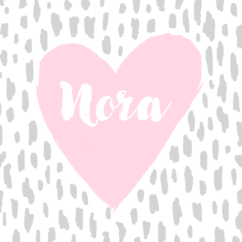 Geboortekaartjes - Geboortekaartje hartje roze hip en stoer