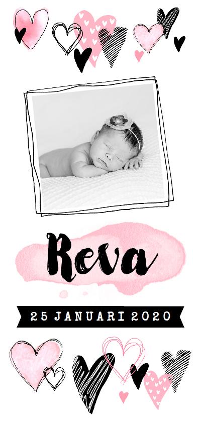 Geboortekaartjes - Geboortekaartje hartjes en foto hip