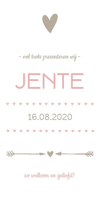 Geboortekaartjes - Geboortekaartje hartjesbanner roze