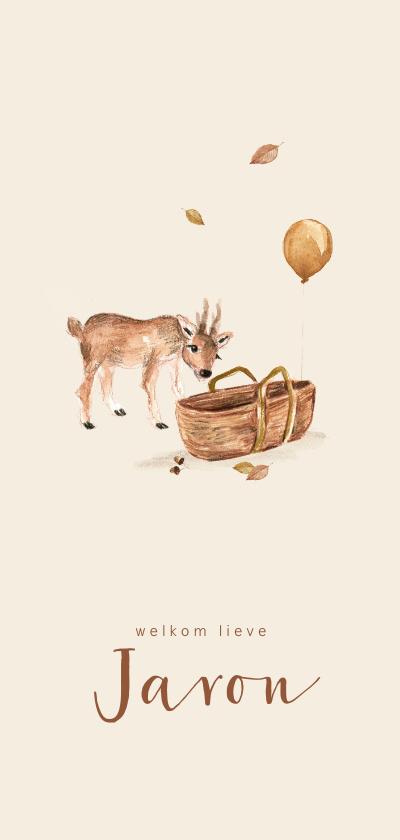 Geboortekaartjes - Geboortekaartje herfst met een hertje bij een mozes wiegje