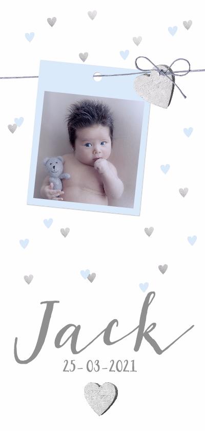 Geboortekaartjes - Geboortekaartje hip foto en hartjes lichtblauw