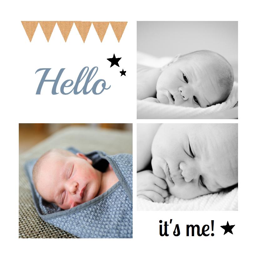 Geboortekaartjes - Geboortekaartje hip foto hello