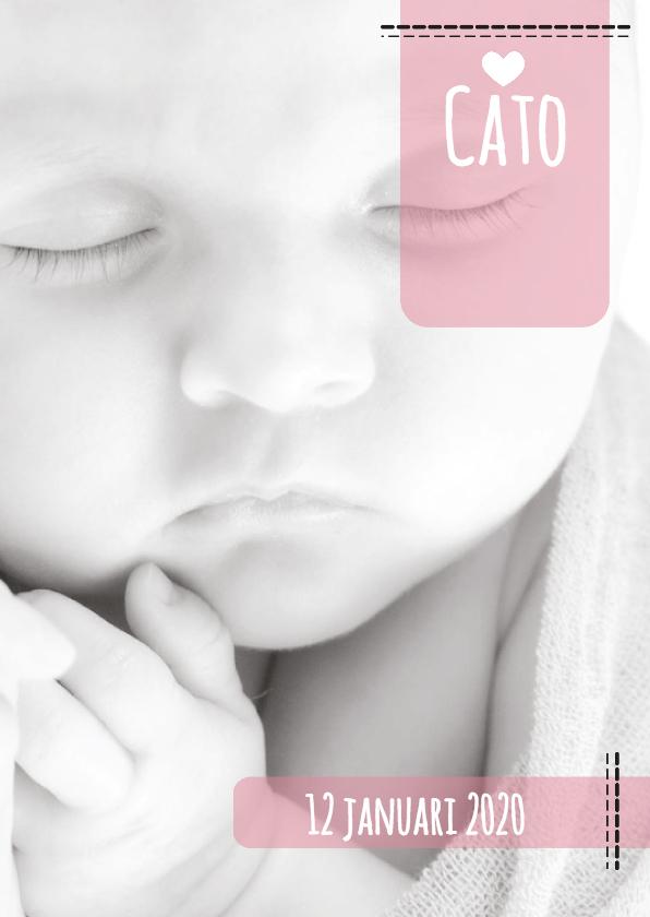 Geboortekaartjes - Geboortekaartje hip foto label