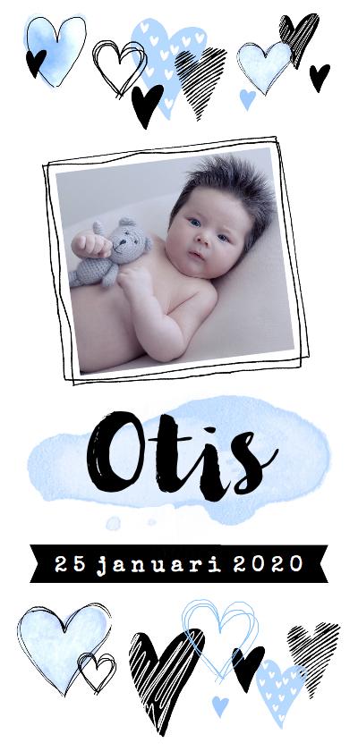 Geboortekaartjes - Geboortekaartje hip hartjes en foto blauw