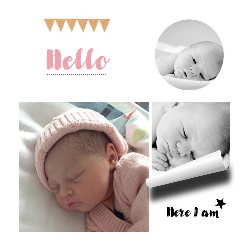 Geboortekaartjes - Geboortekaartje hip girl fotocollage