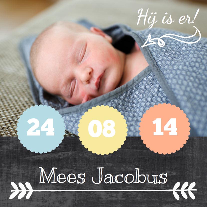 Geboortekaartjes - Geboortekaartje hip krijtbord
