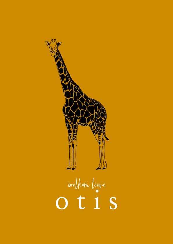 Geboortekaartjes - Geboortekaartje hip lijntekening giraf