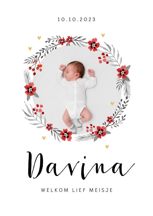 Geboortekaartjes - Geboortekaartje hip meisje bloemen flamingo hartjes