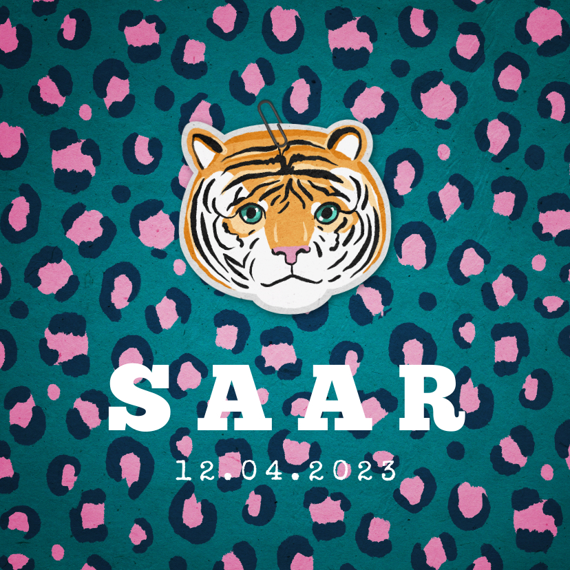 Geboortekaartjes - Geboortekaartje hip meisje panter tijger