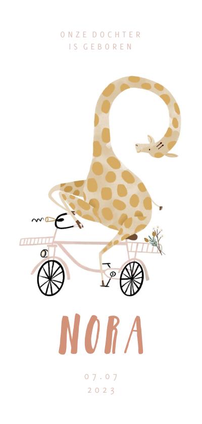 Geboortekaartjes - Geboortekaartje hip met giraf op roze fiets illustratie