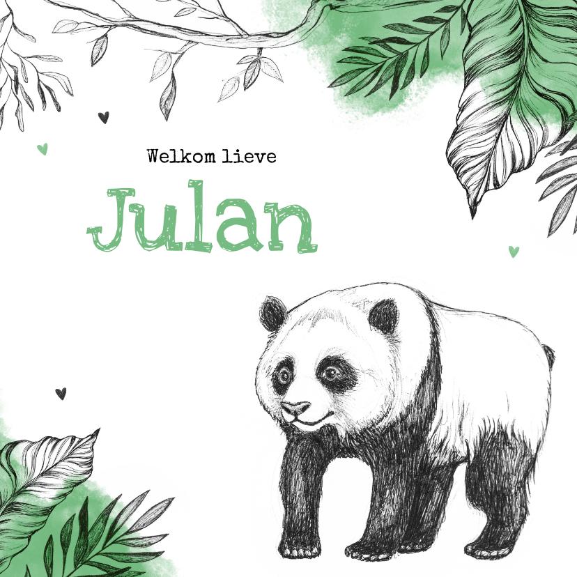 Geboortekaartjes - Geboortekaartje hip pandabeer jungle dieren unisex