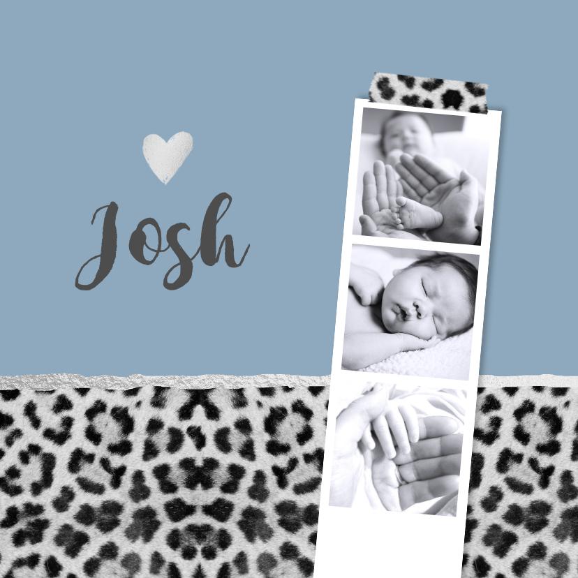 Geboortekaartjes - Geboortekaartje hip panterprint grijs fotostrip