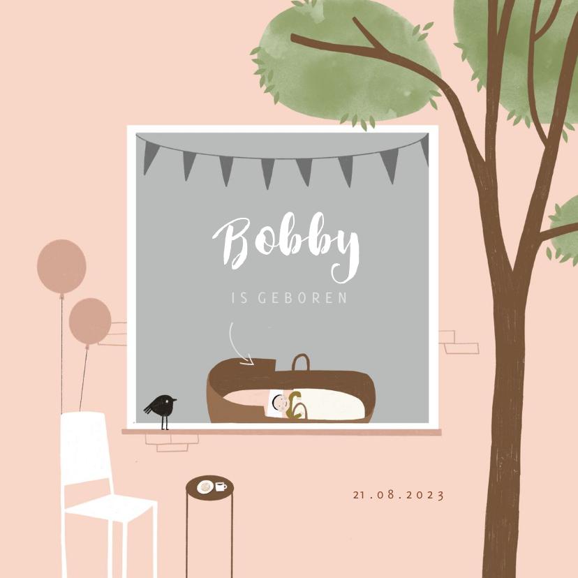 Geboortekaartjes - Geboortekaartje hip roze illustratie raamvisite baby