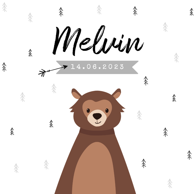Geboortekaartjes - Geboortekaartje hip trendy beer pijltje bomen