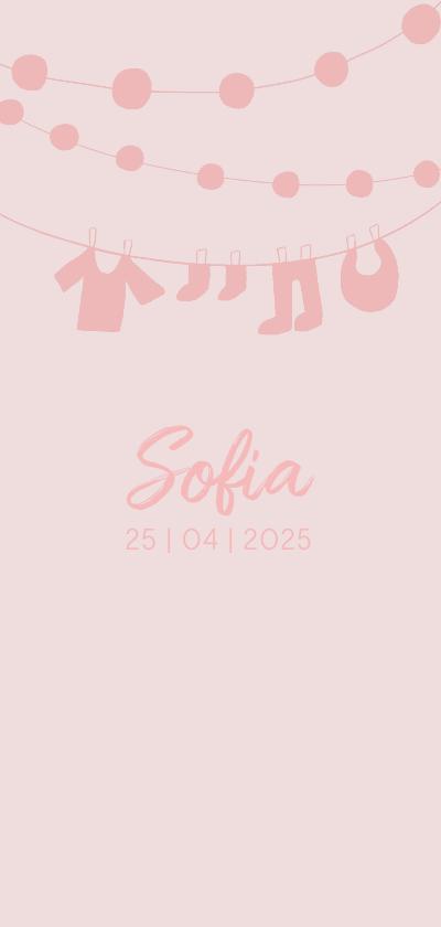 Geboortekaartjes - Geboortekaartje hip waslijn roze meisje