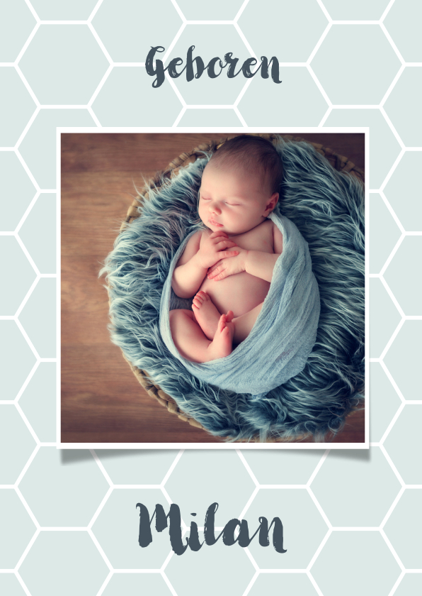 Geboortekaartjes - Geboortekaartje honingraat achtergrondkleur aanpasbaar