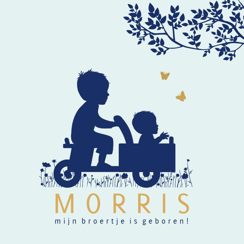 Geboortekaartjes - Geboortekaartje houten bakfiets met broertjes