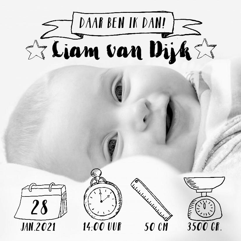 Geboortekaartjes - Geboortekaartje icoontjes handlettering zwartwit foto